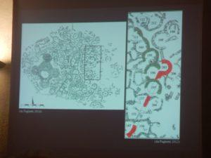 Slide con indicate in rosso le probabili mura più antiche