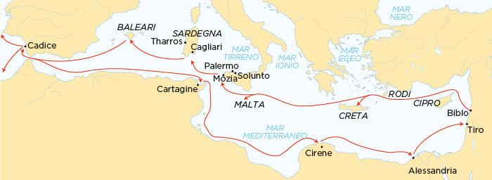 Rotte dei Fenici nel Mediterraneo