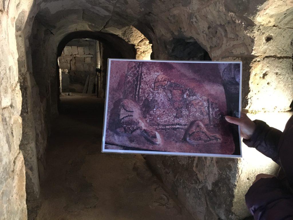 Mosaici policromi nella cripta della chiesa di San Lussorio