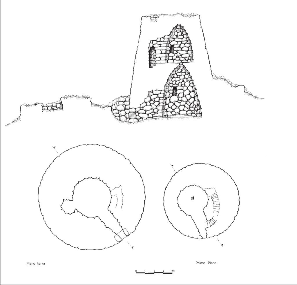 Planimetria del nuraghe trilobato Nuraddeo