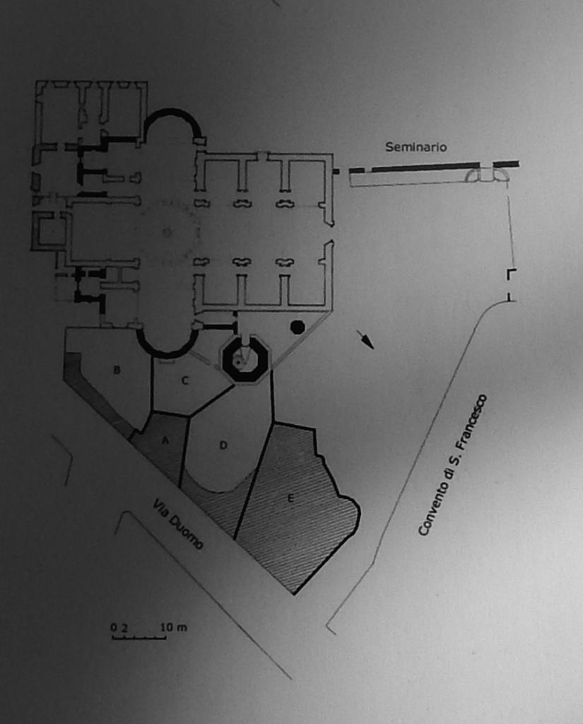 Planimetria della Cattedrale di Oristano e scavi del 1987