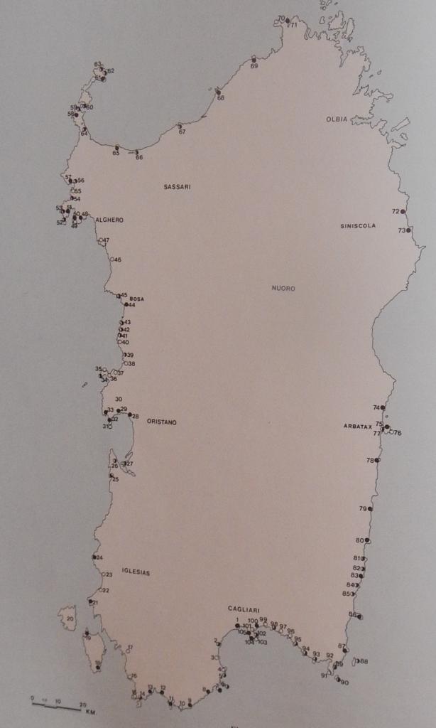 Sardegna e le torri costiere oggetto di studio