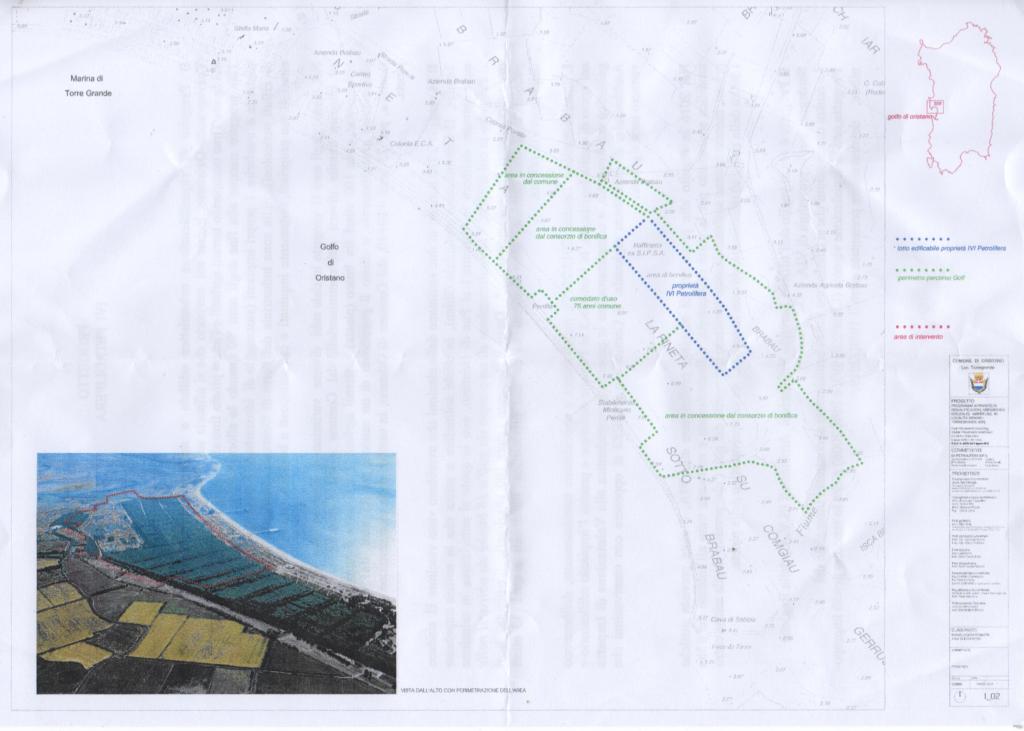 Planimetria delle aree nella pineta di Torregrande a Oristano