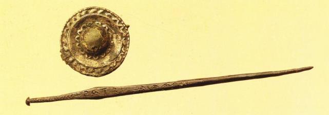Fibula e ago crinale dalla Tomba 80 (Pani Ermini, Zucca 1989)