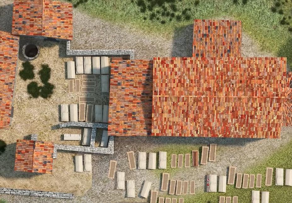 Vista dall'alto dell'ipotesi ricostruttiva delle basiliche di Cornus (Patrimonio Culturale Sardegna Virtual Archaeology)