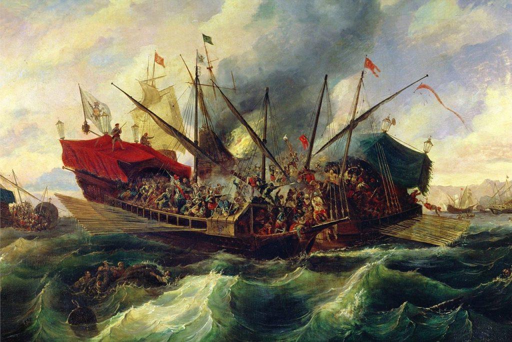 La battaglia di Lepanto di Antonio de Brugada (1804-1863), in cui si nota lo speronamento tra due galee (foto da wikimedia.org).