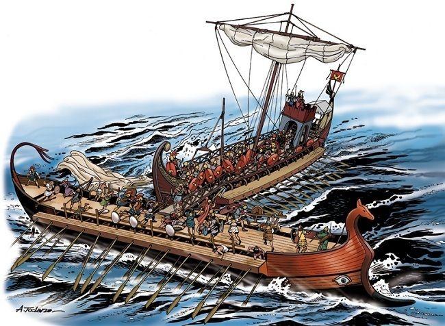 Navi puniche e romane in battaglia