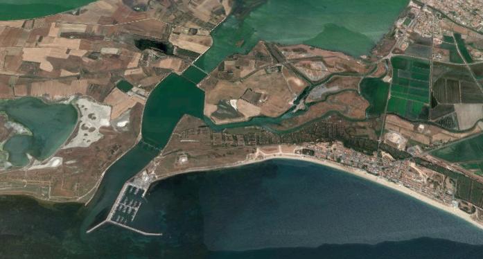 Area in cui probabilmente si trovava il Portus Cuchusii in età giudicale (fonte: Google Maps)