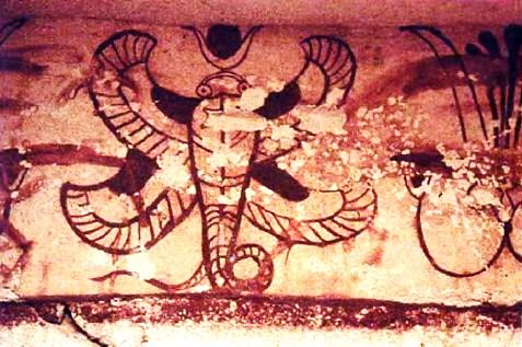 Decorazione della tomba dell'Ureo (Necropoli di Tuvixeddu, Cagliari)
