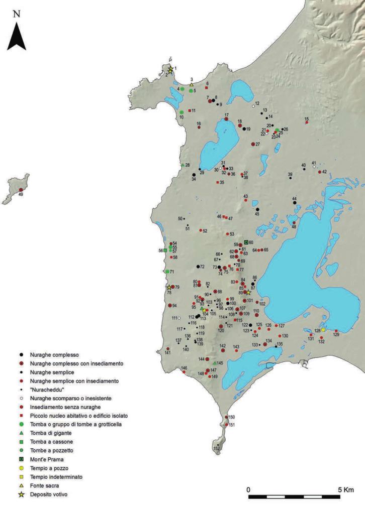 Distribuzione dei siti nuragici nel Sinis (fonte: Usai 2014, Tav. I, p. 33)